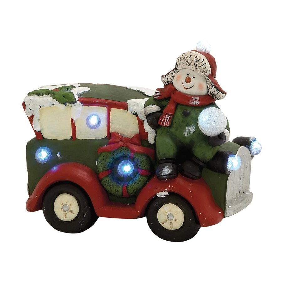 Woodland Imports Lighted Resin Snowman Car Tabletop Figurine with White LED Lights