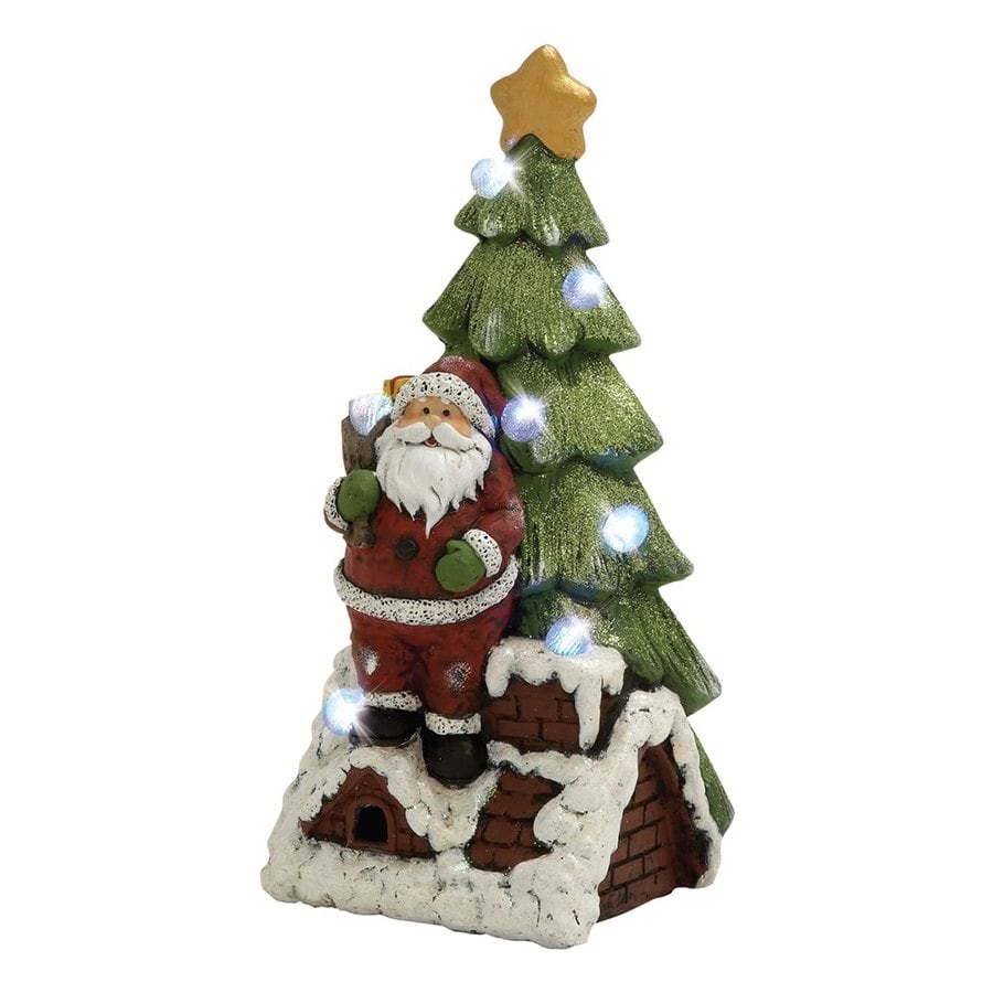 Woodland Imports Lighted Resin Tabletop Santa Figurine with White LED Lights
