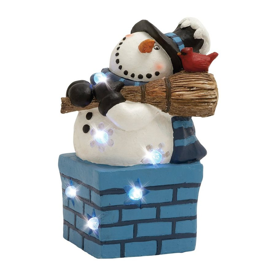 Woodland Imports Lighted Resin Tabletop Snowman Figurine with White LED Lights