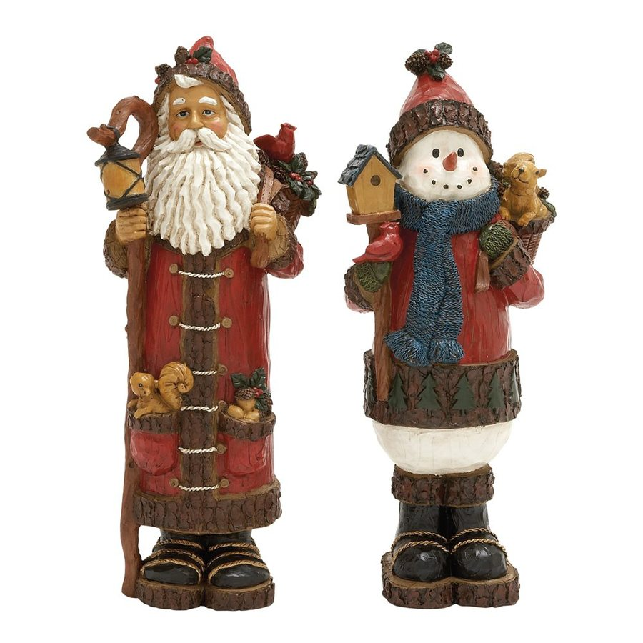 Shop woodland imports 2 pack tabletop figurine santa for Christmas decorations indoor