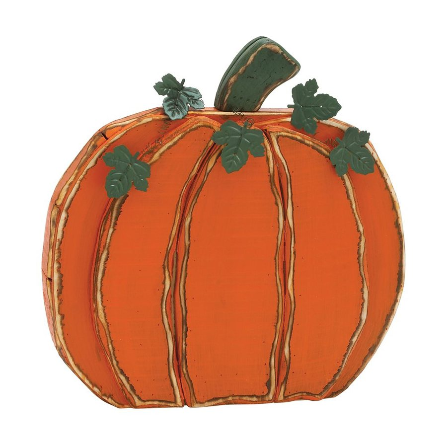 Woodland Imports Wood Tabletop Pumpkin Sculpture
