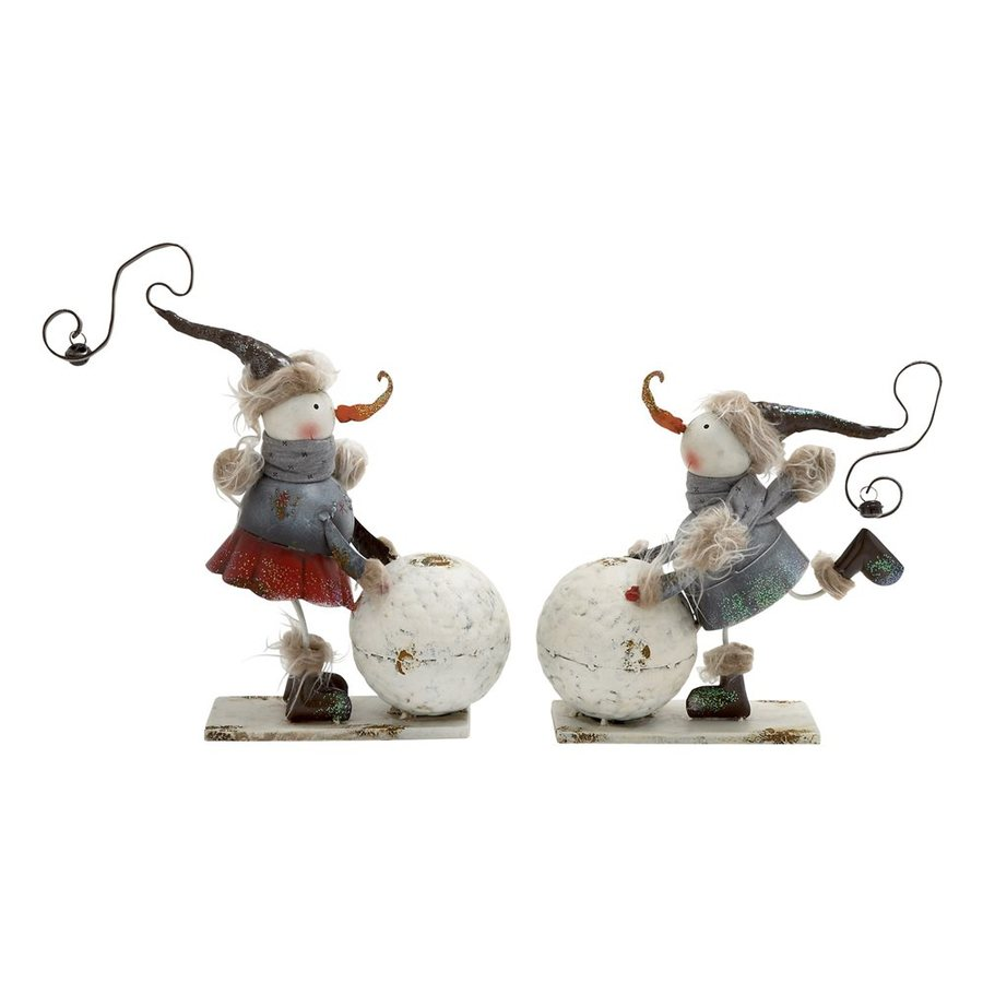 Woodland Imports Set of 2 Metal Tabletop Snowman Figurines
