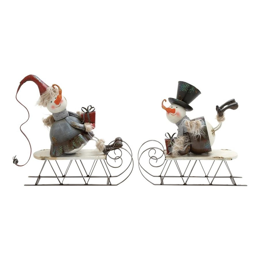 Woodland Imports Set of 2 Metal Tabletop Sledding Snowman Figurines