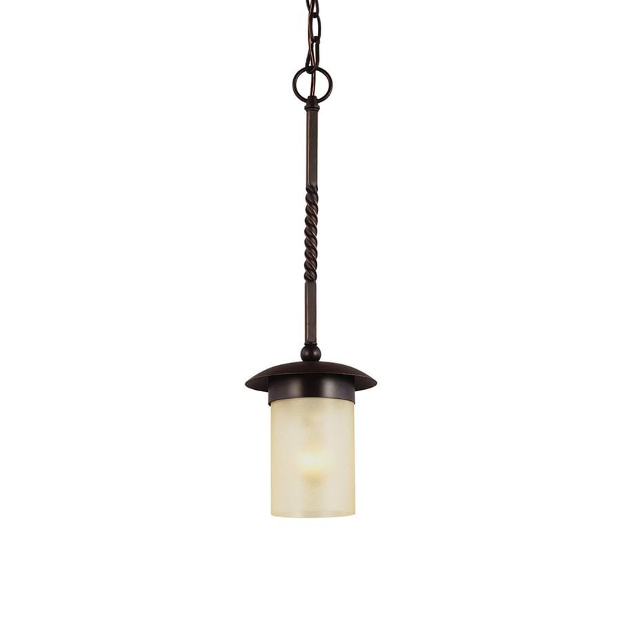 Sea Gull Lighting Trempealeau 6.25-in Roman Bronze Craftsman Mini Seeded Glass Cylinder Pendant