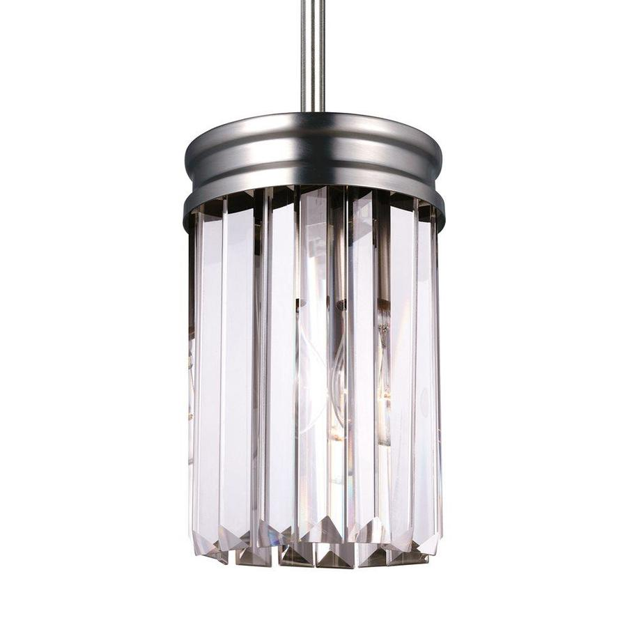 Sea Gull Lighting Carondelet 5.125-in Antique Brushed Nickel Crystal Mini Clear Glass Cylinder Pendant