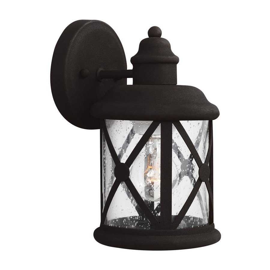 Sea Gull Lighting Lakeview 10.125-in H Black Outdoor Wall Light