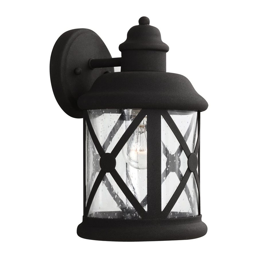 Sea Gull Lighting Lakeview 12-in H Black Outdoor Wall Light