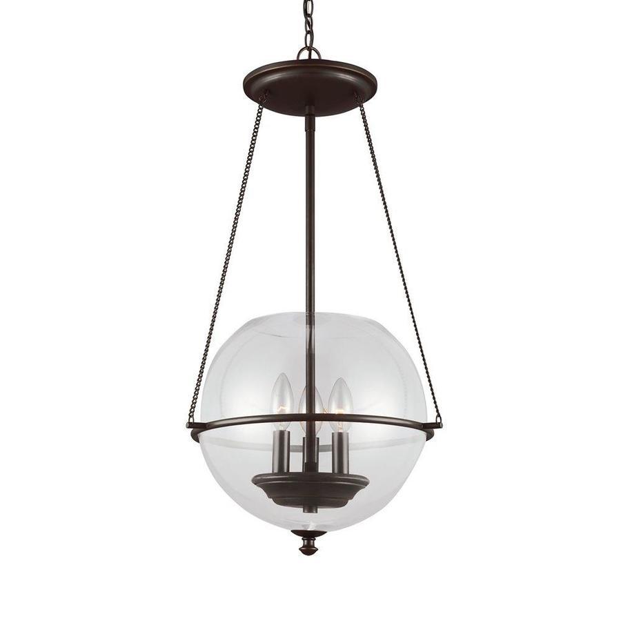 Sea Gull Lighting Havenwood 14.5-in Autumn Bronze Vintage Single Clear Glass Globe Pendant