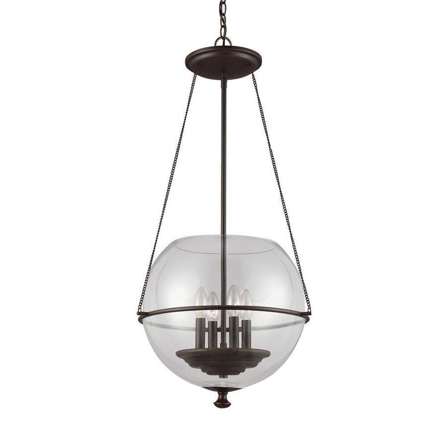 Sea Gull Lighting Havenwood 17.5-in Autumn Bronze Vintage Single Clear Glass Globe Pendant