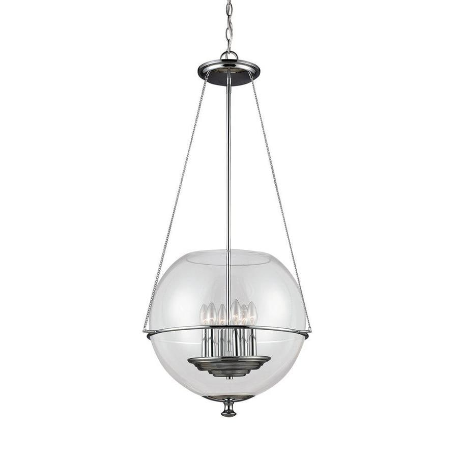 Sea Gull Lighting Havenwood 21-in Chrome Vintage Single Clear Glass Globe Pendant