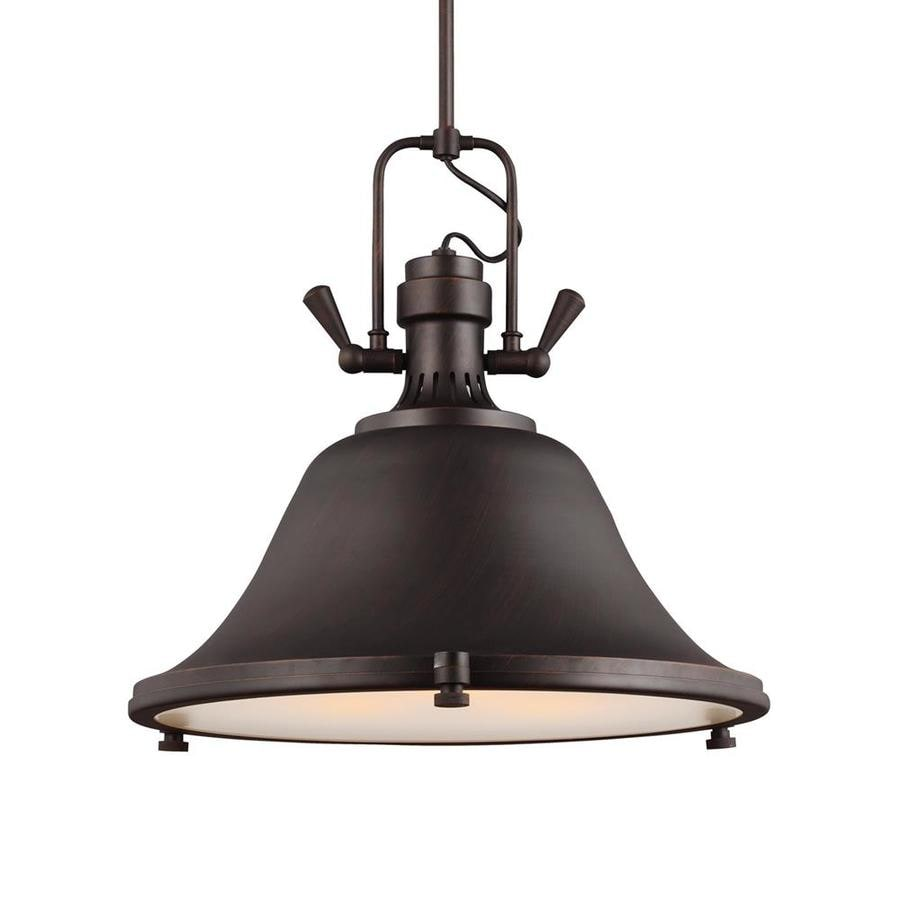 Sea Gull Lighting Stone Street 21.75-in Burnt Sienna Industrial Single Etched Glass Warehouse Pendant