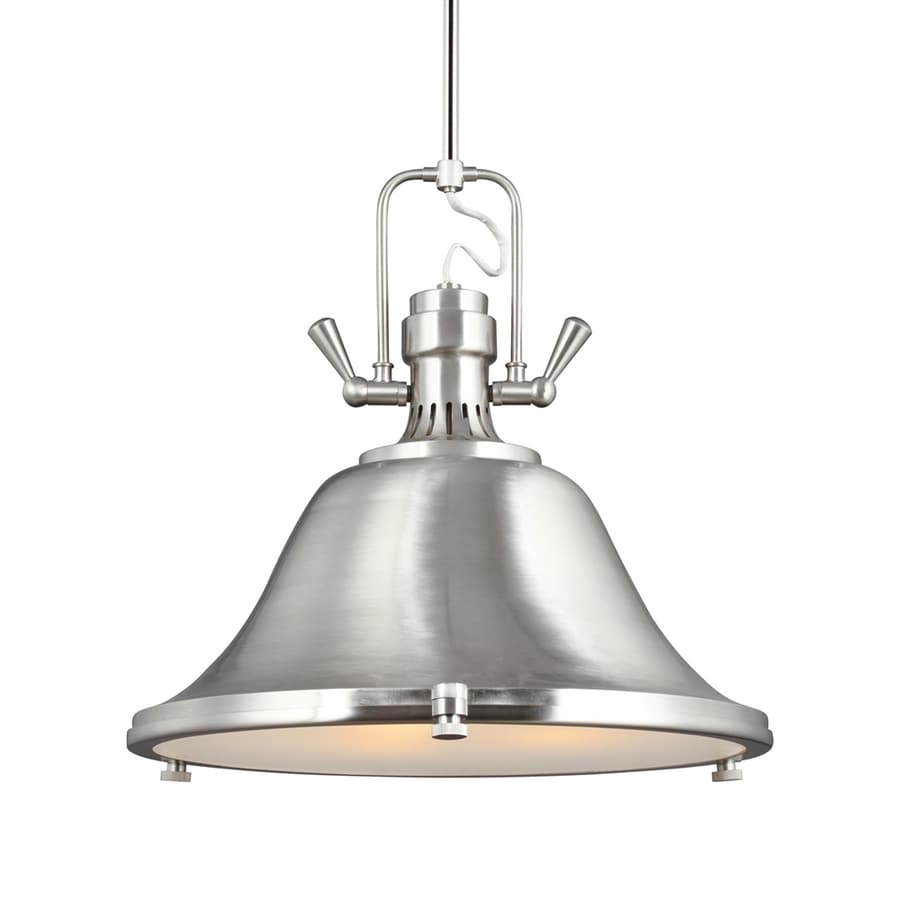 Sea Gull Lighting Stone Street 21.75-in Brushed Nickel Industrial Single Etched Glass Warehouse Pendant