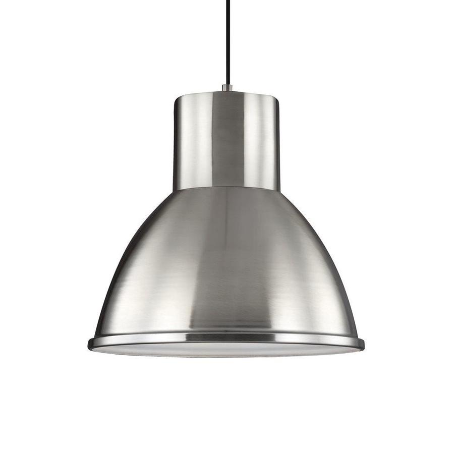 Sea Gull Lighting Division Street 15.25-in Brushed Nickel Industrial Single Warehouse Pendant
