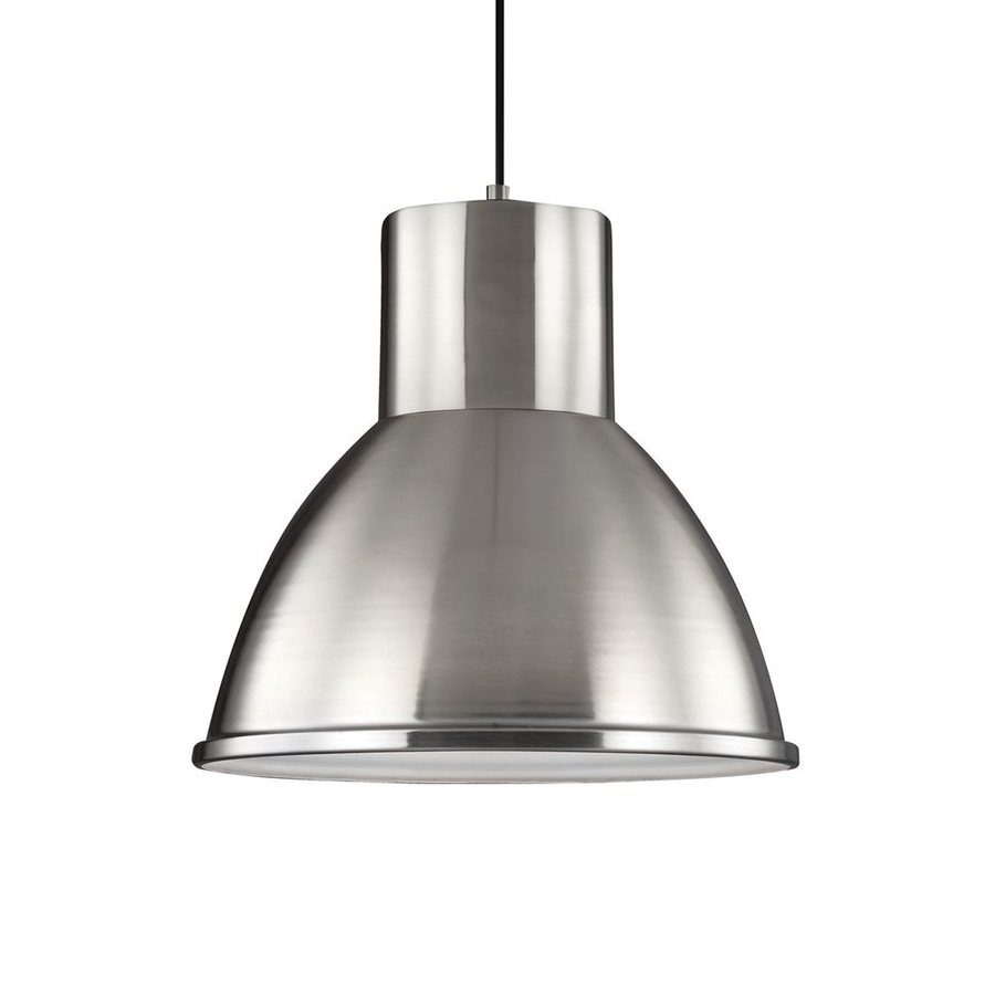 Sea Gull Lighting Division Street 15.25-in Brushed Nickel Industrial Single Warehouse Pendant