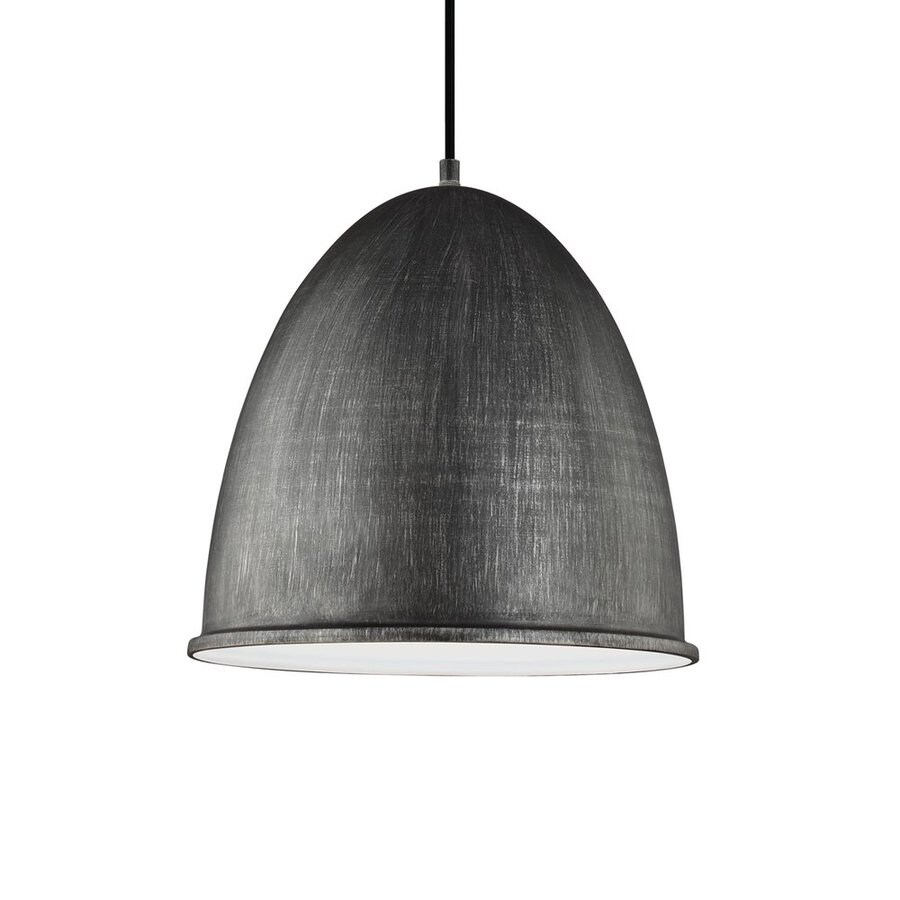 Sea Gull Lighting Hudson Street 15.75-in Stardust Industrial Single Dome Pendant