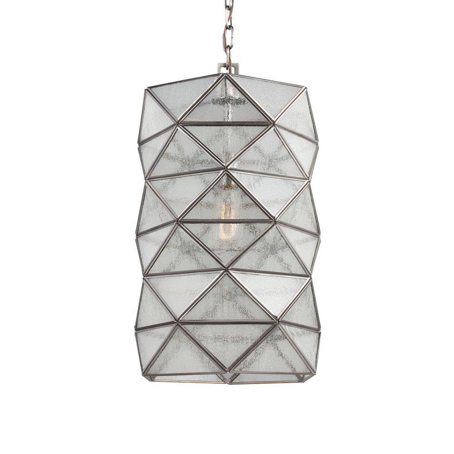 Sea Gull Lighting Harambee 12-in Antique Brushed Nickel Vintage Single Seeded Glass Geometric Pendant