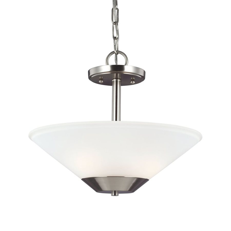 Sea Gull Lighting Ashburne 15-in Brushed Nickel Single Etched Glass Bowl Pendant