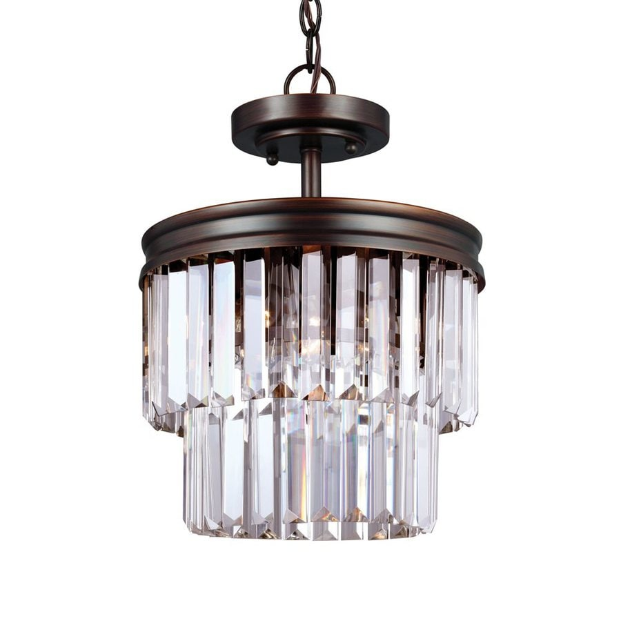 Sea Gull Lighting Carondelet 10.625-in 2-Light Burnt Sienna Crystal Clear Glass Waterfall Chandelier