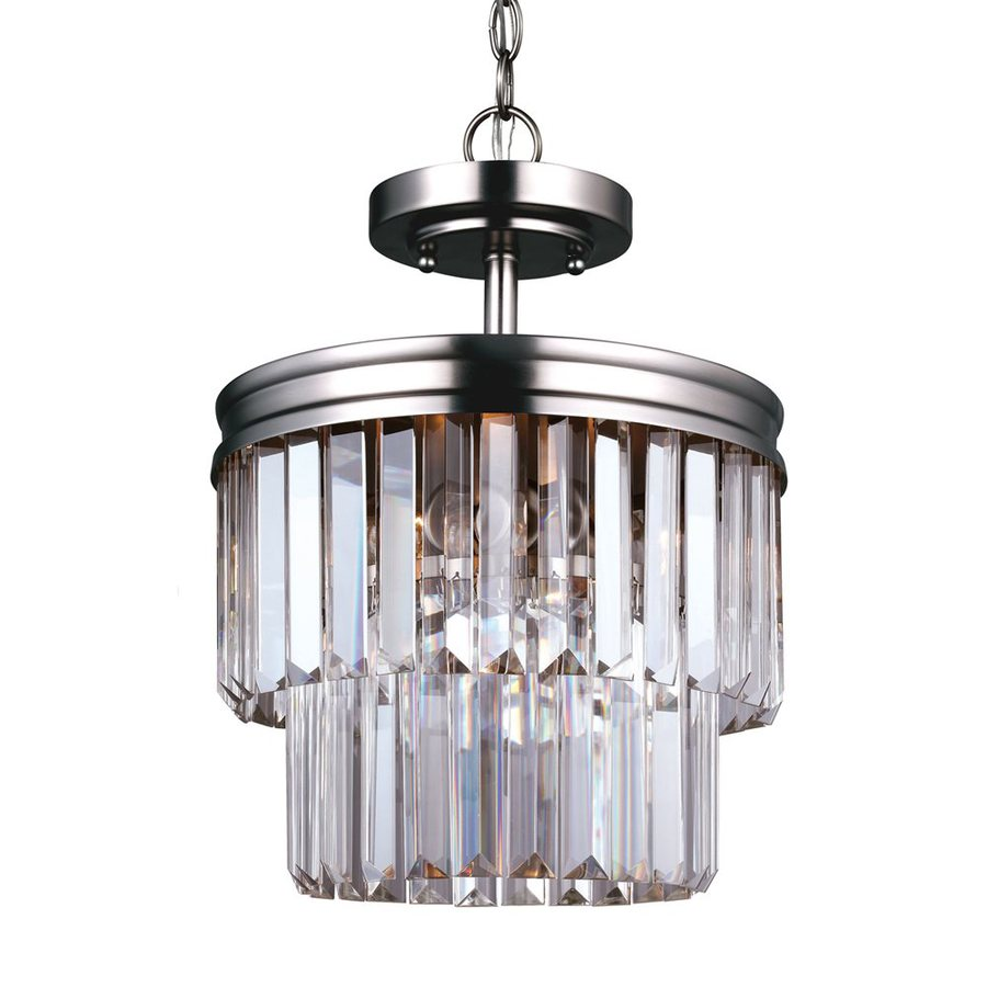 Sea Gull Lighting Carondelet 10.625-in 2-Light Antique Brushed Nickel Crystal Clear Glass Waterfall Chandelier