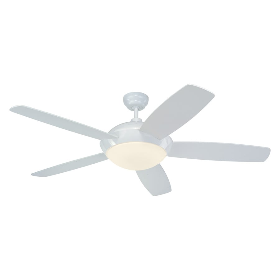 Monte Carlo Fan Company Sleek 52-in White Downrod Mount Indoor Ceiling Fan Included Remote Control Included (5-Blade)