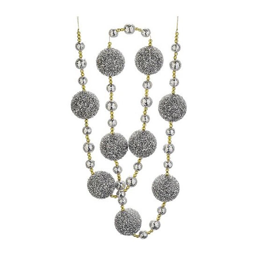 Northlight Christmas Brites 6-ft L Silver Splendor Glitter Ball Garland