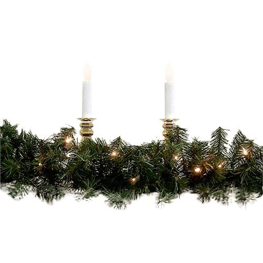 Shop northlight 8 in x 9 ft pre lit indoor outdoor windsor - Exterior christmas garland with lights ...