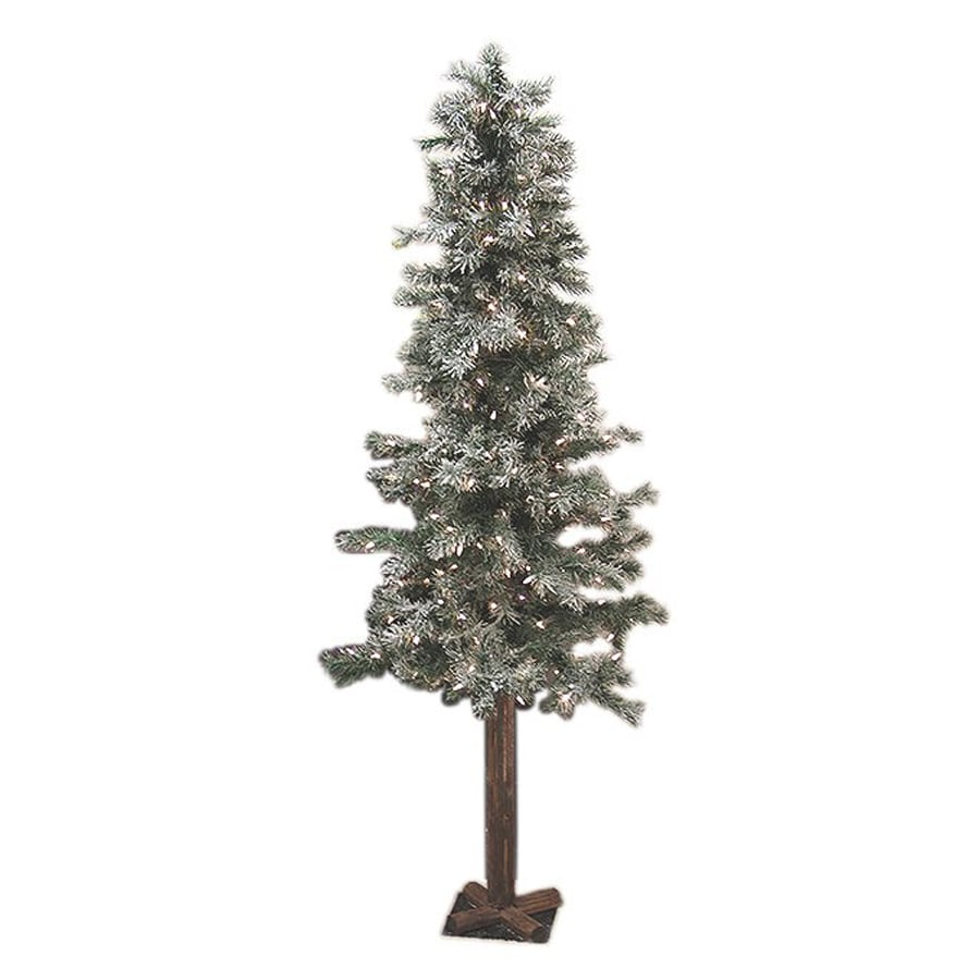 Northlight Allstate 7-ft Pre-Lit Alpine Slim Flocked Artificial Christmas Tree with White Clear Incandescent Lights