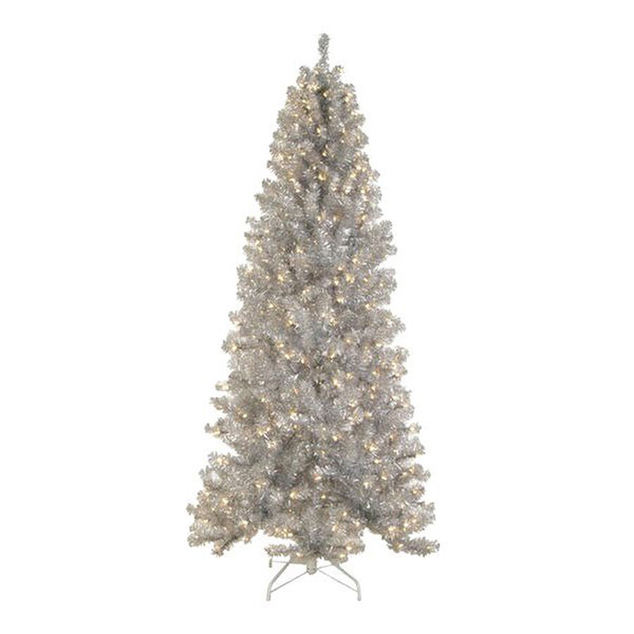 Northlight Allstate 6.5-ft Pre-Lit Tinsel Slim Artificial Christmas Tree with White Clear Incandescent Lights