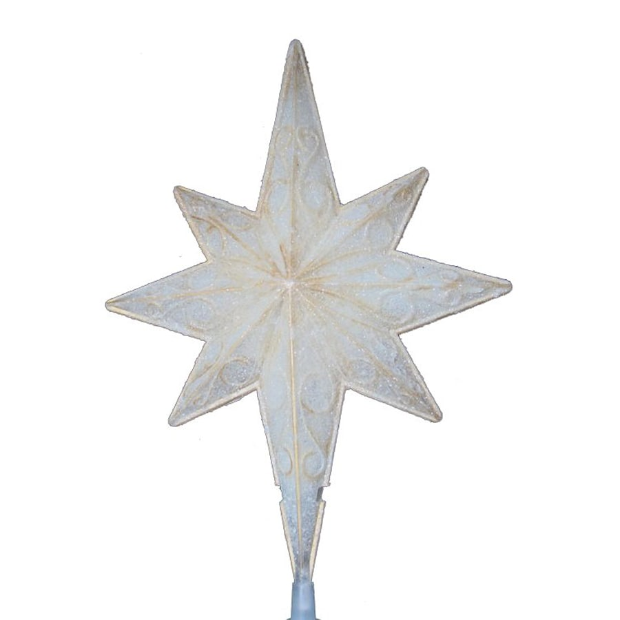 Northlight Sienna 10.5-in Translucent Off-White Pre-Lit Plastic Star Christmas Tree Topper with White Incandescent Lights