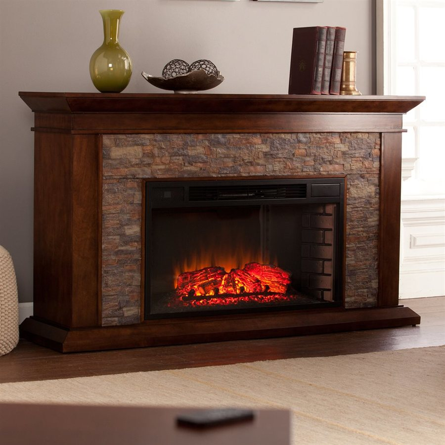 Boston Loft Furnishings 60-in W 5000-BTU Whiskey Maple MDF LED Electric Fireplace with Thermostat and Remote Control