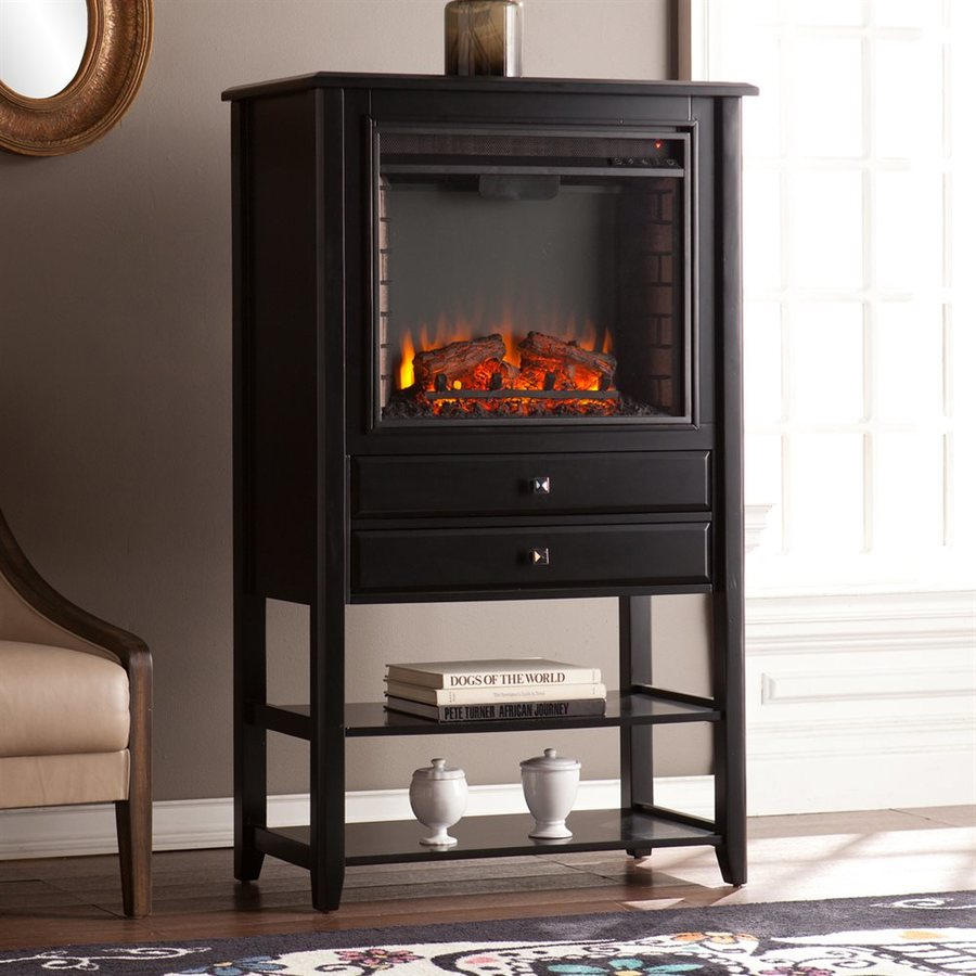 Boston Loft Furnishings 32.25-in W 5000-BTU Black MDF LED Electric Fireplace with Thermostat and Remote Control