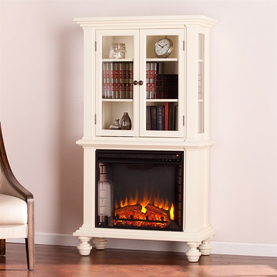Boston Loft Furnishings 33.25-in W 5000-BTU Antique White MDF LED Electric Fireplace with Thermostat and Remote Control