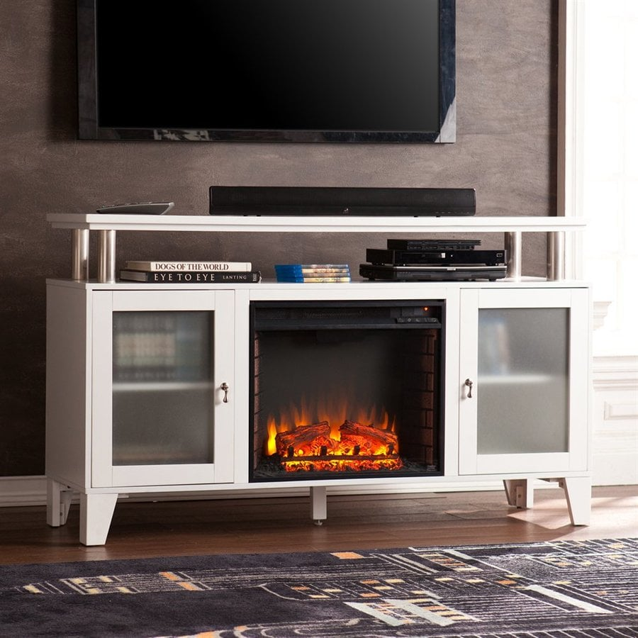 Boston Loft Furnishings 60-in W 5000-BTU White MDF LED Electric Fireplace with Thermostat and Remote Control