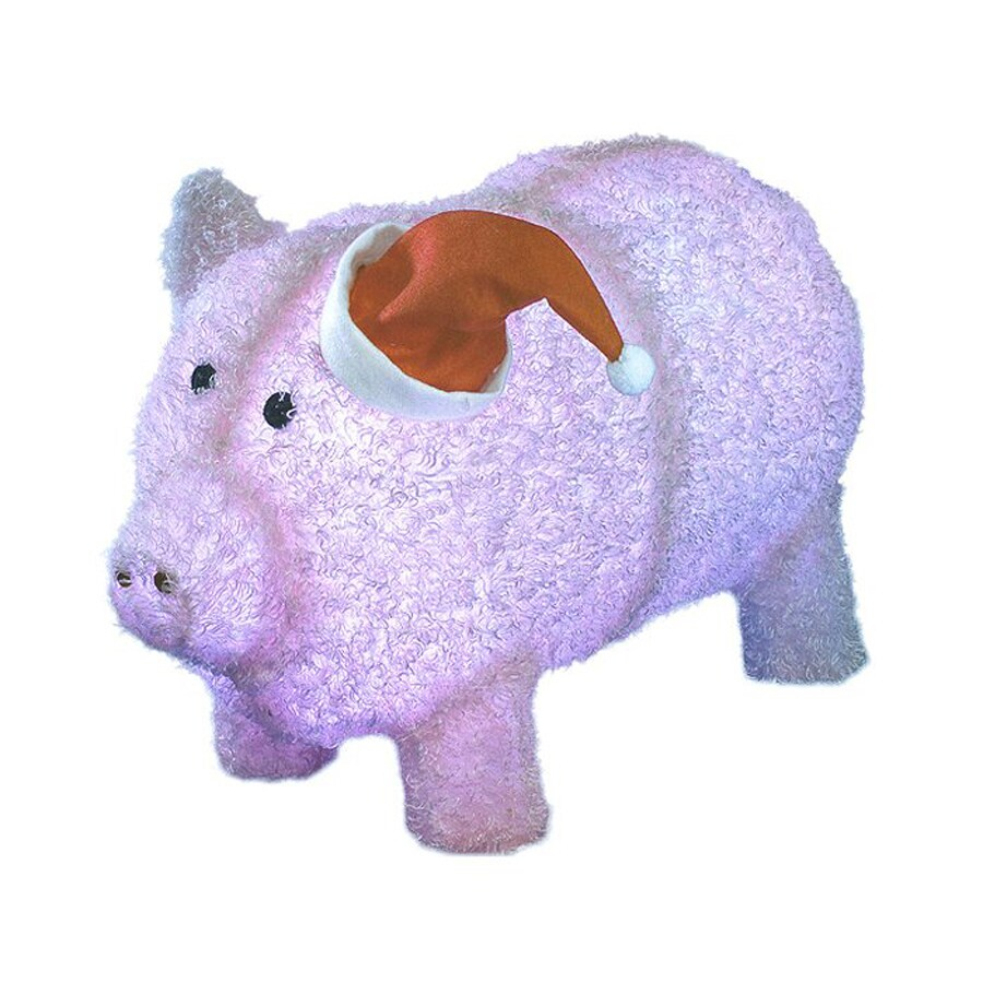 Northlight Sienna Pre-Lit Chenille Pig in Santa Hat Freestanding Sculpture with White LED Lights
