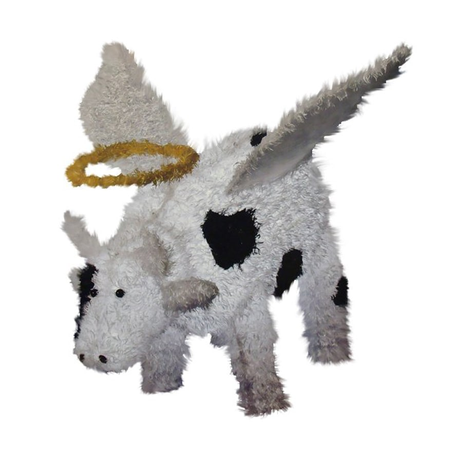 Northlight Sienna Pre-Lit Chenille Angel Cow Freestanding Sculpture Constant White LED Lights