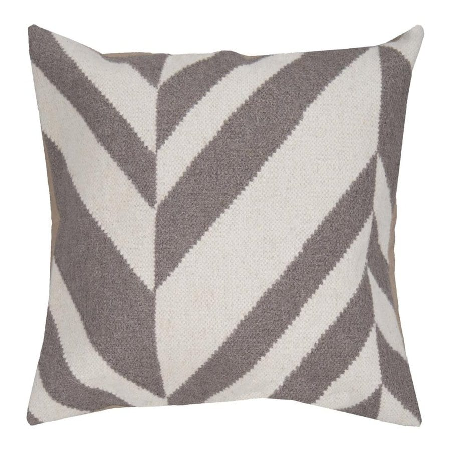 Surya 22-in W x 22-in L White/Elephant Gray Square Indoor Decorative Complete Pillow