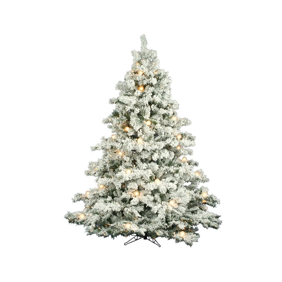 Vickerman 7.5-ft Pre-Lit Alaskan Pine Flocked Artificial Christmas Tree with White Clear Incandescent Lights