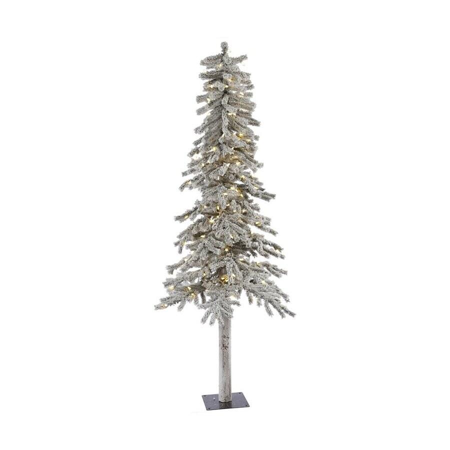Vickerman 7-ft Pre-Lit Alpine Slim Flocked Artificial Christmas Tree with Warm White LED Lights