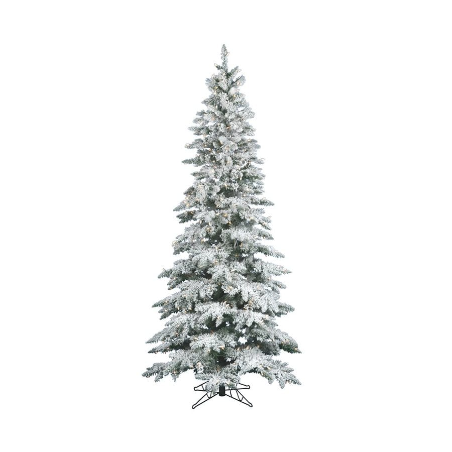 Vickerman 7.5-ft Pre-Lit Utica Fir Slim Flocked Artificial Christmas Tree with White Clear Incandescent Lights