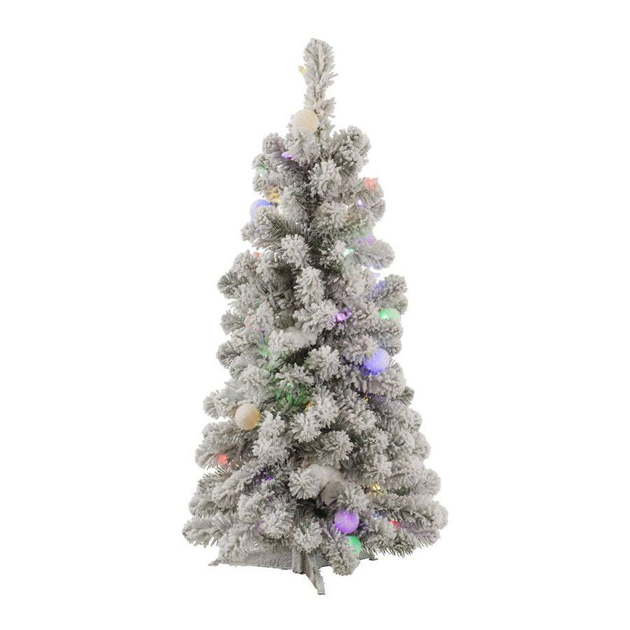 Vickerman 3-ft Pre-Lit Kodiak Spruce  Flocked Artificial Christmas Tree with Multicolor LED/Incandescent Lights