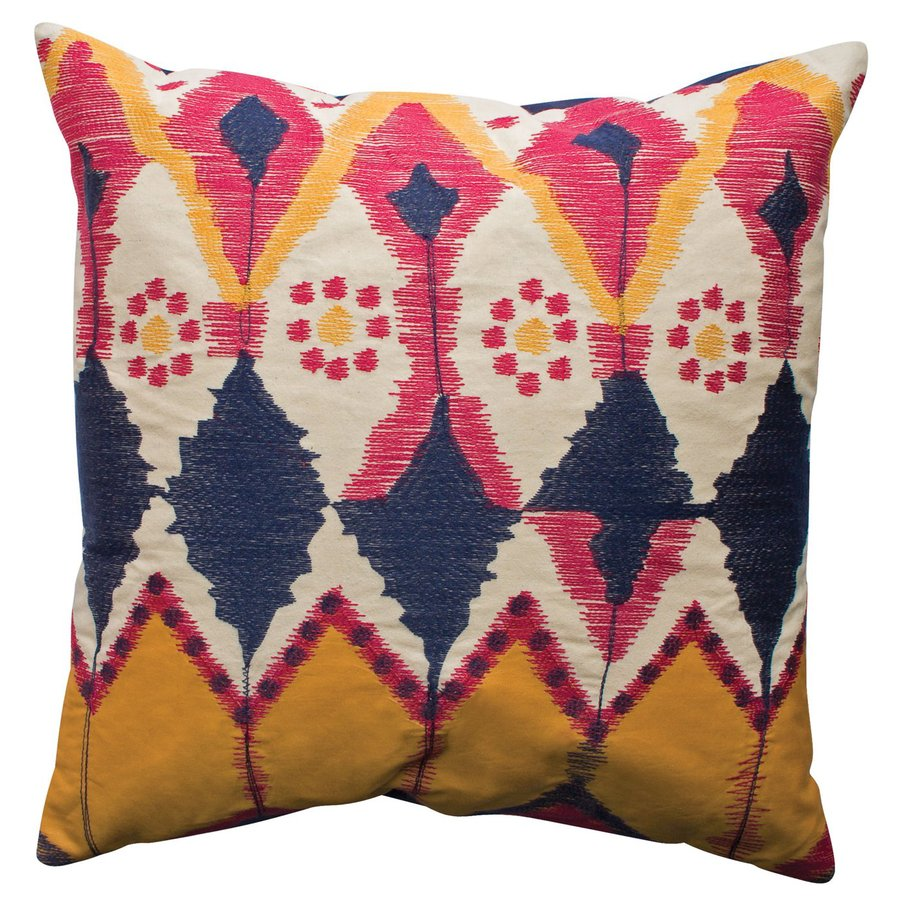 Rhadi by Koko 20-in W x 20-in L Blue/Gold Square Indoor Decorative Pillow