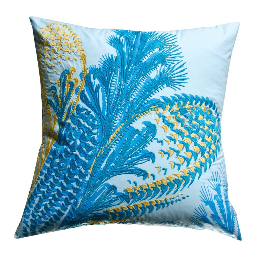 Rhadi by Koko 20-in W x 20-in L Blue/Mustard Square Indoor Decorative Pillow