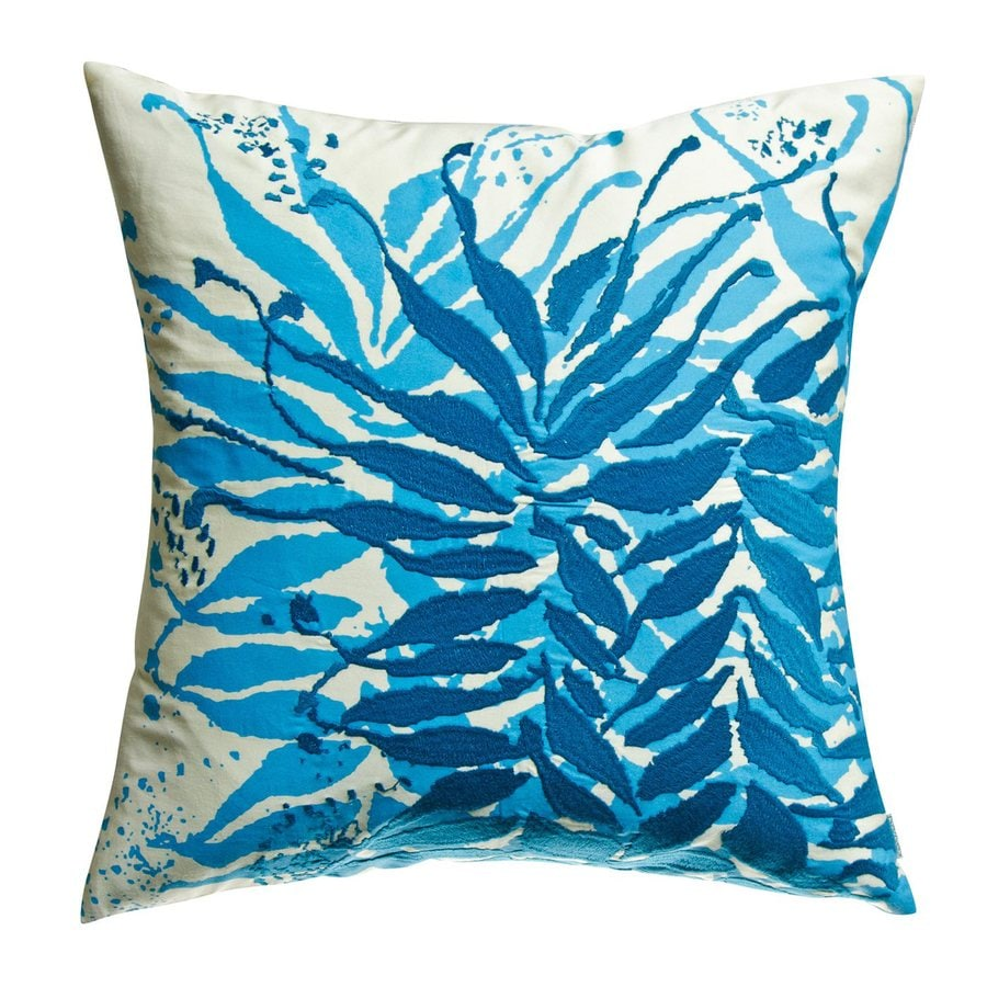 Rhadi by Koko 18-in W x 18-in L Blue/Mustard Square Indoor Decorative Pillow