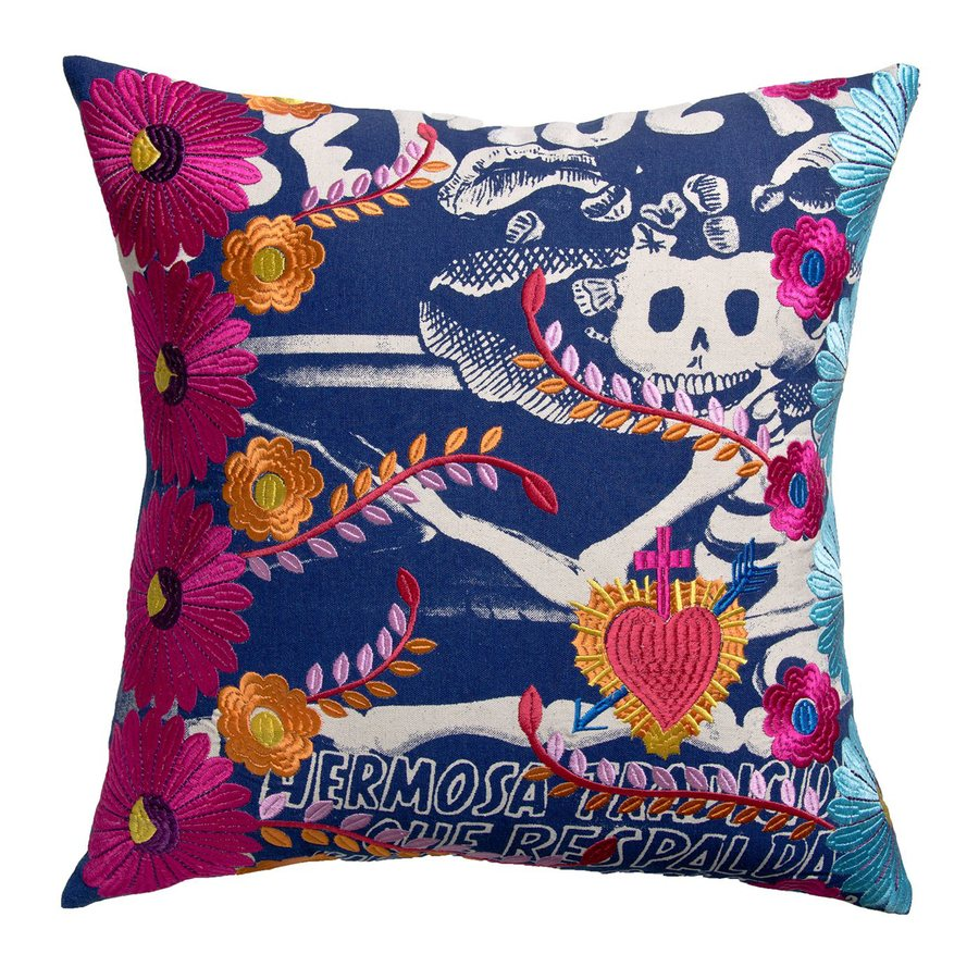 Rhadi by Koko 20-in W x 20-in L Blue/Red Square Indoor Decorative Pillow