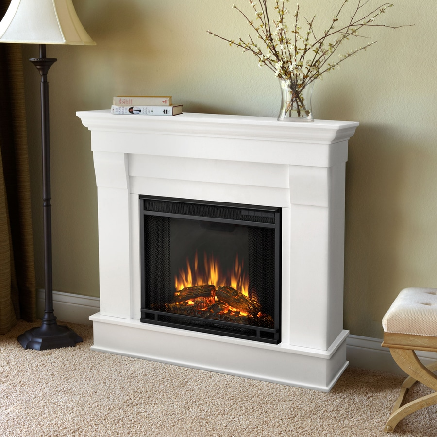 Shop Real Flame 40 9 In W 4780 Btu White Wood Led Electric