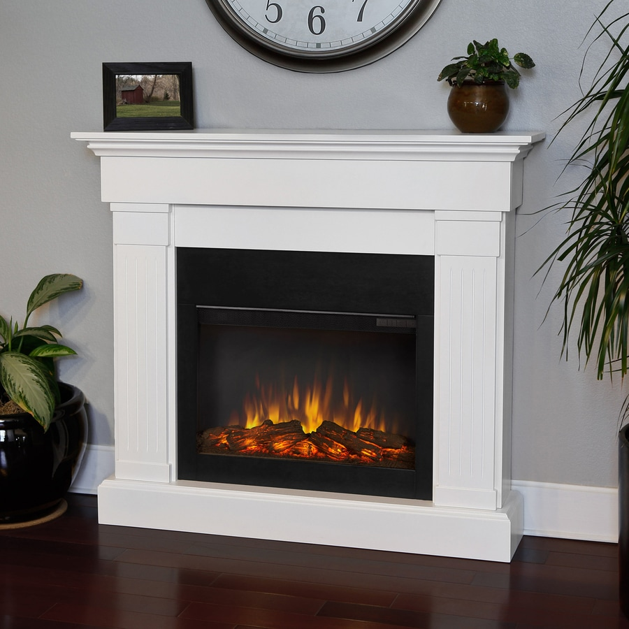 Shop Real Flame 47 4 In W 4780 Btu White Wood Led Electric Fireplace With Thermostat And Remote
