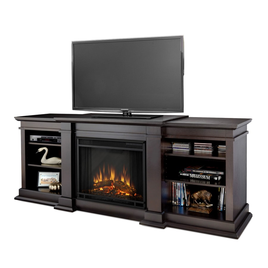 Real Flame 72-in W 4780-BTU Dark Walnut Wood LED Electric Fireplace with Thermostat and Remote Control
