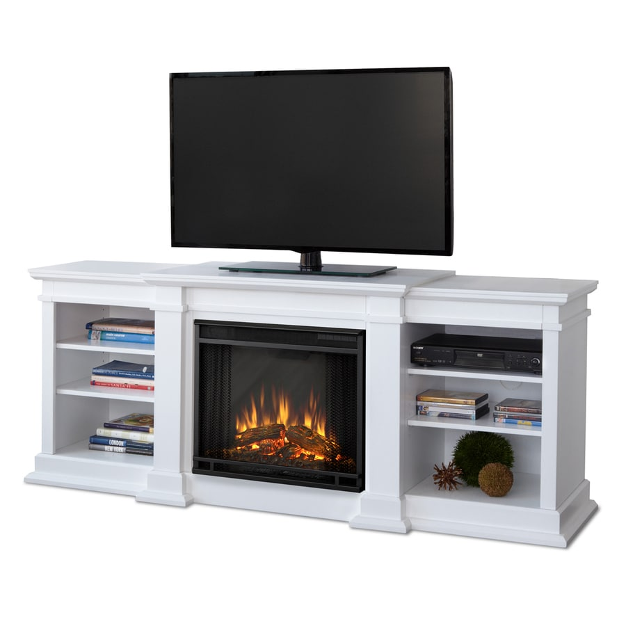 Shop Real Flame 72 In W 4780 Btu White Wood Led Electric Fireplace With Thermostat And Remote