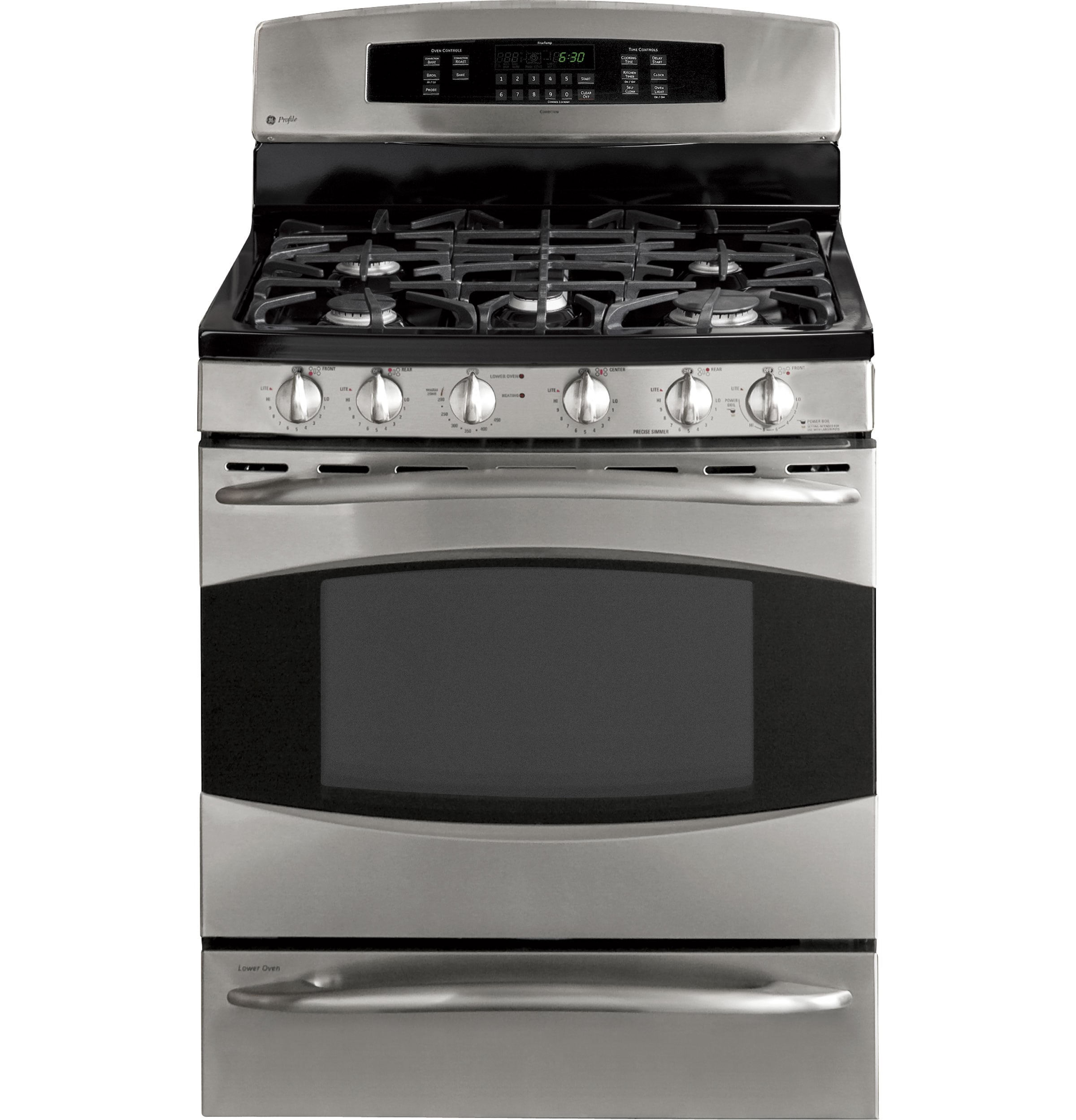 GE Profile 30-in 5 Burners Self-Cleaning Freestanding Double Oven Gas Range  (Stainless Steel) in the Double Oven Gas Ranges department at Lowes.com   Ge Profile Range Wiring Diagram      Lowe's