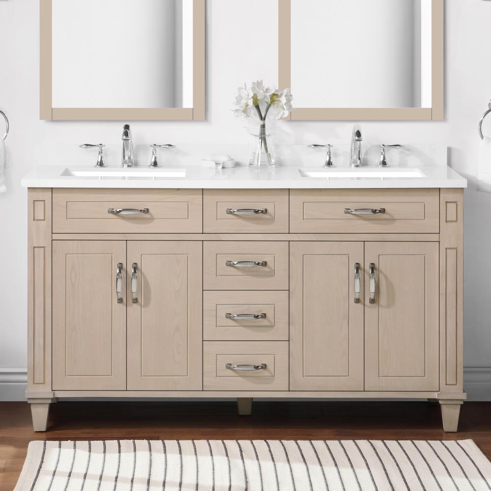 Martha Stewart Thornfield 20 in White Washed Maple Undermount Double Sink  Bathroom Vanity with White Engineered Stone Top